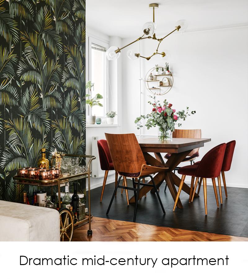 Dramatic midcentury apartment